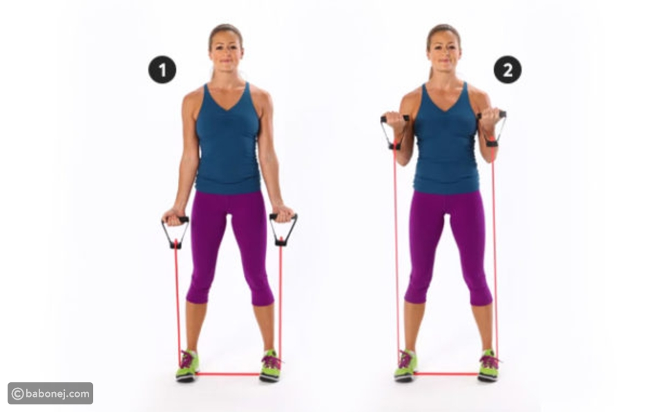 Standing Resistance Band Biceps Curl